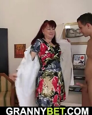 hot grandma gets naked and plays with his meat