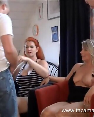 Two busty German amateur wives caught in a gangbang