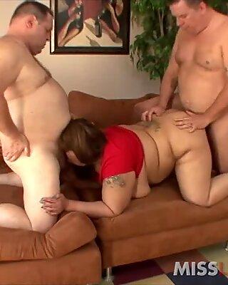 Amateur Asian BBW Slut Banged by 2 Fat Guys