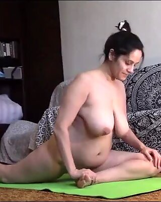 Yoga Naked With A Mature Woman That Has Big Natural Boobs