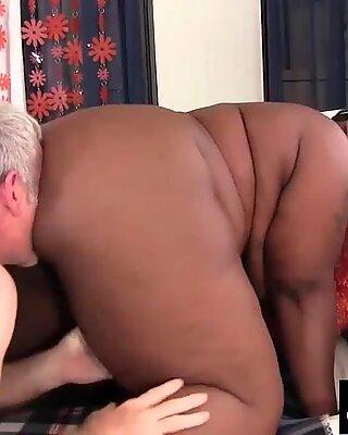 naughty large dark-hued Daphne Daniels Fucks a White Grandpa