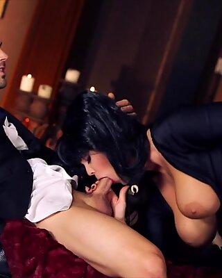 Black haired Alison Tyler fucks her suited lover