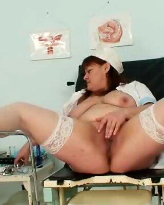 Big tits aged lady wears nurse uniform and gets naughty