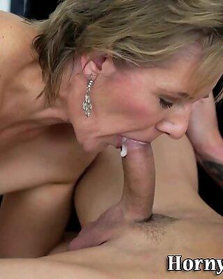 Grandmother gives blowjob