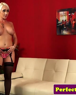 Bigtitted english babe doggystyled before cum