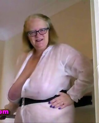 Naked Granny doing the painting