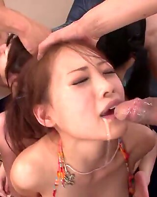 Three tied up Asian sluts get used up as sex objects