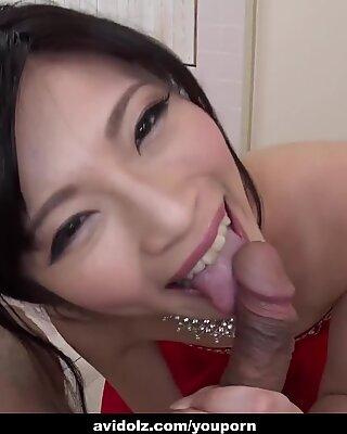 Japanese beauty, Sara Yurikawa licks dick, uncensored
