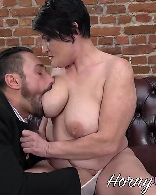 Busty old cougar rides