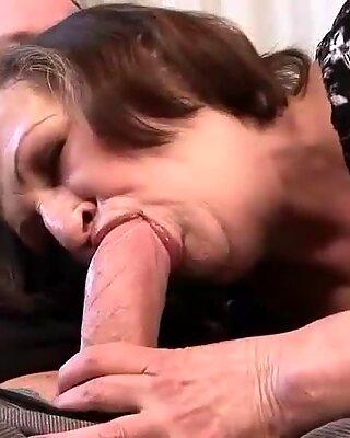 Ugly granny gives blowjob and gets fucked hard