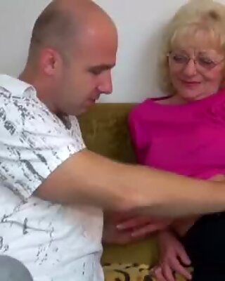 HOT Young guy fucking granny with strap-on OLDNANNY