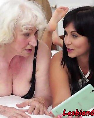 Pussylicking grandma enjoys roundass nubile