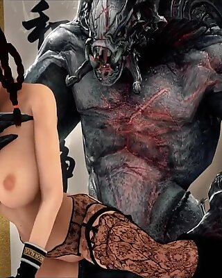Big tits 3D babe gives titjob to stranger monster with big cock