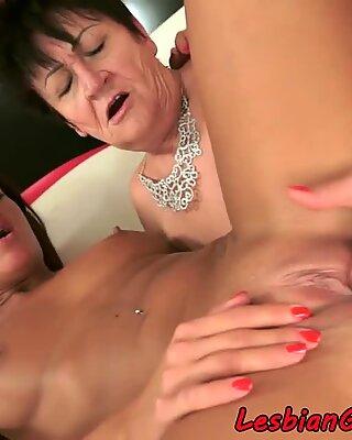 Shaved granny fingering lesbian beauty