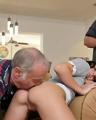 Skinny granny anal old Riding the Old Wood!