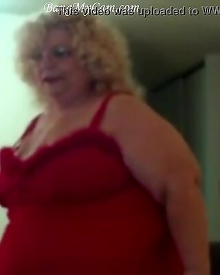 fat woman with a gun on red underwear