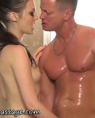 Babe gives handjob and blowjob