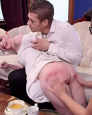 Butt plugged teen spanked by mom
