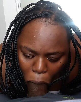 dark-hued bbw bi-atch catch nuts and keep sucking