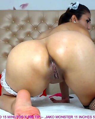 Mature Latina Rides Fat Anal Dildo Live On Cam