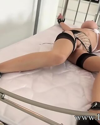 brit mature damsel Sonia ball-gagged and bound to the bed
