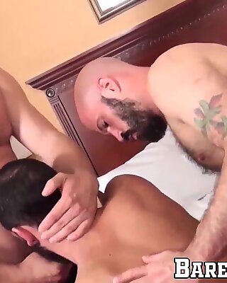 Hairy bear takes dick inside of his tight ass and loves it