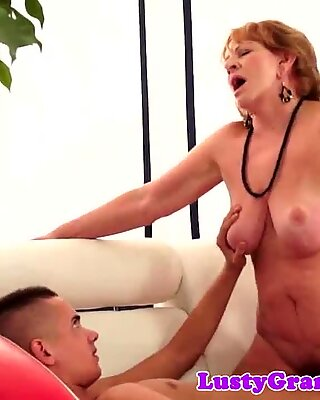 Busty euro grandma sucking and cockriding