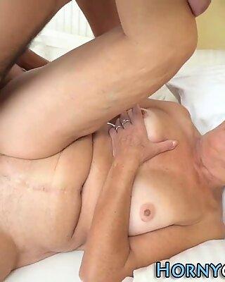 Hairy grandma sucks dick