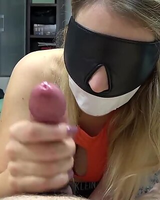 Tape Gagged & Blindfolded BDSM Slave with HUGE Tits giving a Hard Handjob