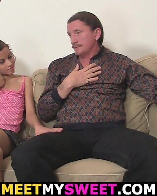 He finds puny cupcakes GF riding old father's cock