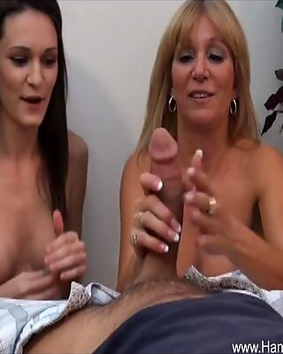 Mom and Daughter share big cock during POV handjob