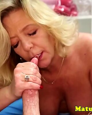 Gilf amateur wanking cock with passion