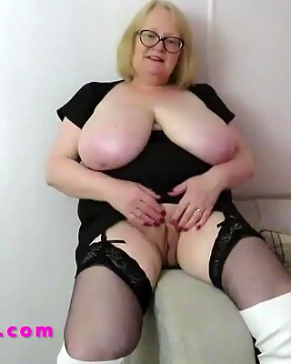 Big tits Granny in stockings and white thigh boots