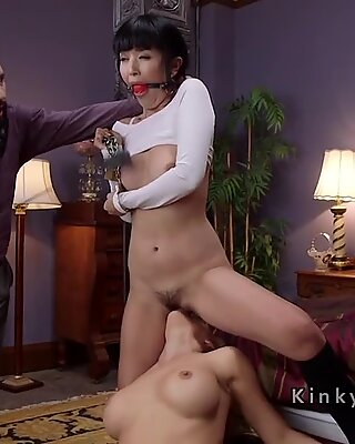 Master anal fucks asian and busty blonde