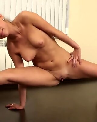 Hot and hairy pussy girl does gymnastic acts