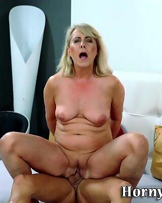 Nipple licked blonde gran