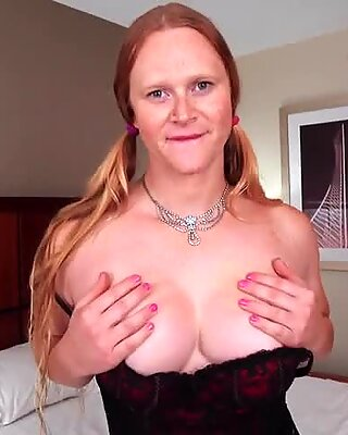 Mature shemale teasing her tight new pussy