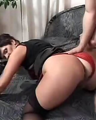 Nasty old whore gets her hairy cunt smashed then guzzles cum