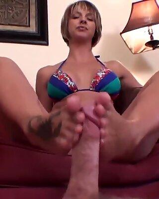 slave got a footjob