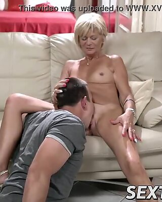 naughty grannie loves riding and sucking big young dick