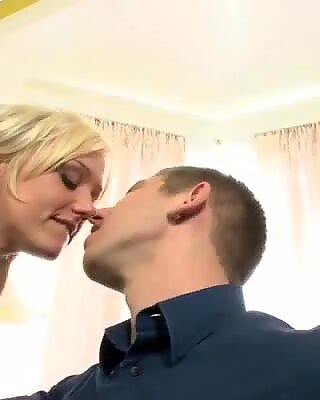 Wacky blonde hooker with big boobs is screwed bad in MMF threesome