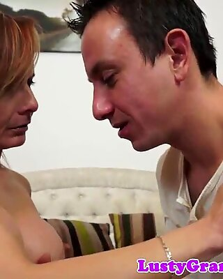 European gilf with fake tits gets assfucked