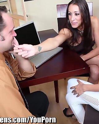 Melanie Rios seduced by Horny Couple at Office