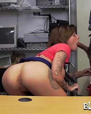 Tattooed actress obeying big-dicked black boss