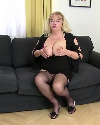 mummy with enormous boobs and ass takes young cock