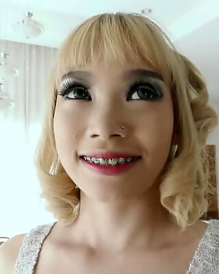 Jizz filled mouth for small Asian chick