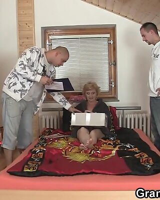 Hot threesome with skinny blonde granny