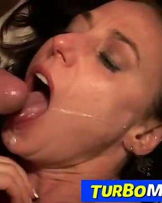 Horny housewife Karen Kougar fishnet stockings and sex